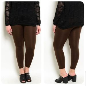 Plus size brown elastic waistband winter leggings